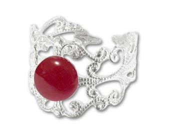 Ring silver plated - carnelian (adjustable size) print