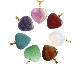 Plated Gold - 7 chakra pendants heart box
