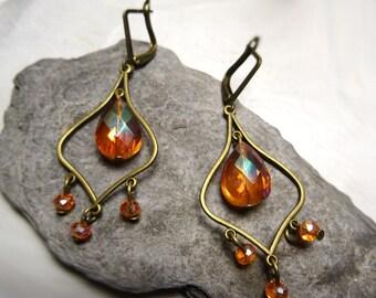 Earrings drops baroque swarovki Crystal amber