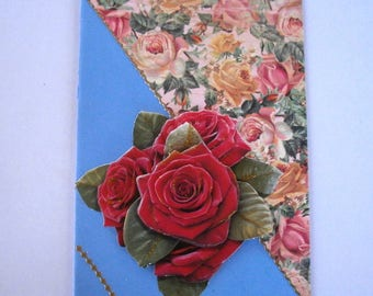 67 - red bouquet of roses in 3d greeting card