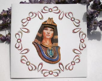 102 Cleopatra 3D embroidered greeting card