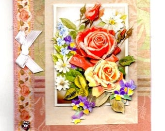 358 - Pink flower bouquet greeting card