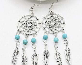 Earrings dream catcher turquoise beads