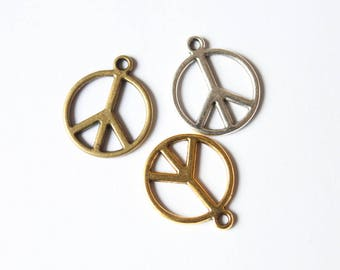 set of 3 peace symbol charm