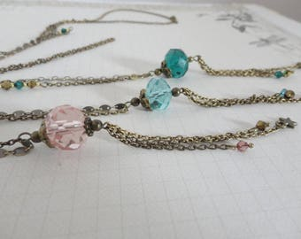 Long Necklace: large Crystal bead