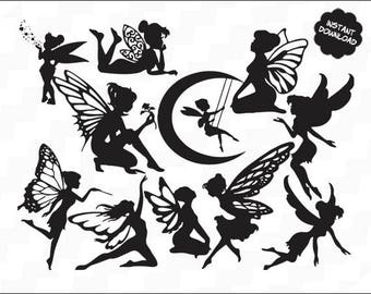 Fairies Svg Clipart, Fairy vector, dfx, svg, eps, Butterfly SVG, fairies silhouttes