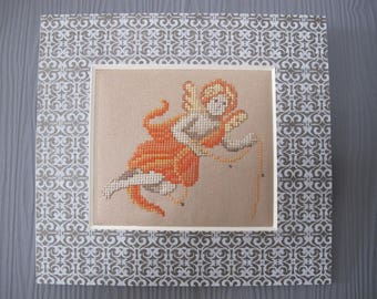 Small painting of an Angel embroidered cross stitch