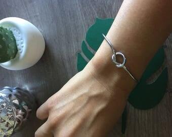 Silver knot open Bangle Bracelet