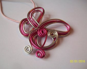 Pink and silver aluminium wire pendant