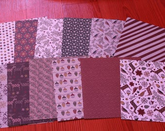 set of 12 sheets 15 x 15 cm various reddish brown patterns