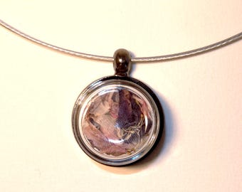 The Choker necklace with small glass filled with pink and purple Campanula puck