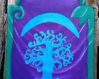 Banner Darnassienne tree world. Painting on wood.
