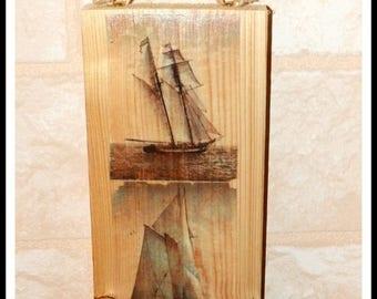 Panel decorative wooden sailboat