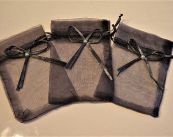 set of 3 bags organza, dark gray color 9 * 12cm