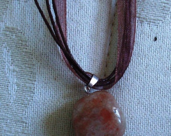 Stone pendant wrapped over organza necklace