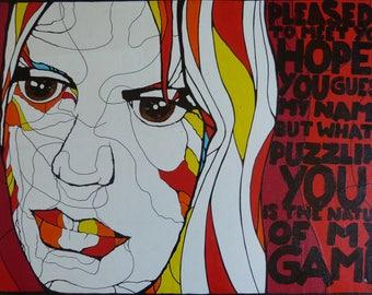 painting on wood panel, Mick Jagger street art style
