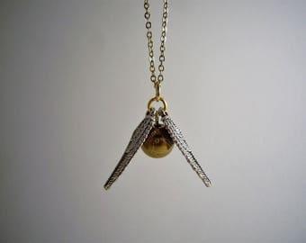 """Collier """"Vif d'or"""" inspiration Harry Potter, argenté et doré (version chaine dorée)"""