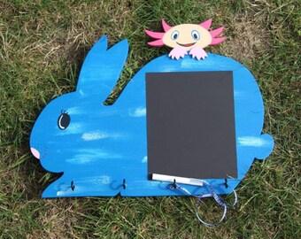 Ardoise lapin et son axolotl