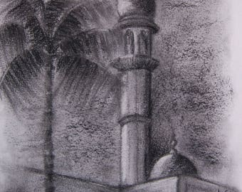 Mosque in charcoal drawing