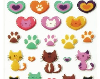 """Stickers Cooky relief """"[NULL] cats/hearts x 31 - MAILDOR - Ref 560500"""