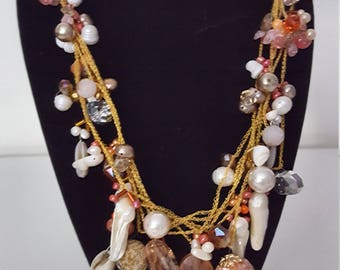 Feminine Peach and Gold Beaded Necklace