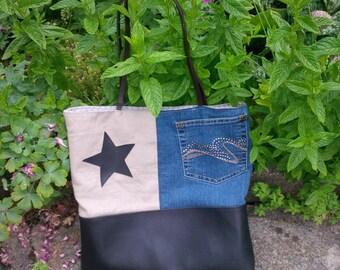 sorting material imitation, linen and denim bag