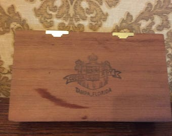 Wooden box old embossed with Tampa Florids and Cuesta Rey emblem