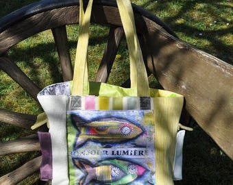Shoulder bag fabric with print of a painting by artist