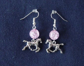 Pink horse 3D ball earrings