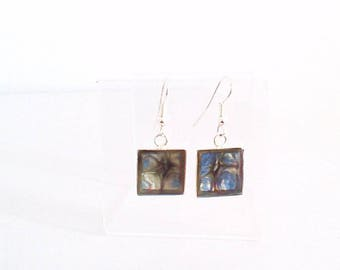 Earrings, gunmetal and bronze blue, light collection.