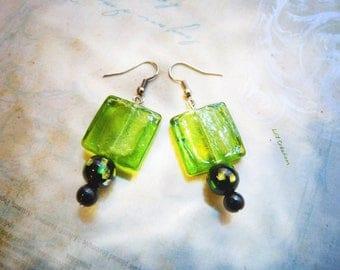 Earrings - black and green glass bead