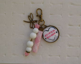 Great lovely sister cabochon bag charm