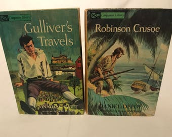 Vintage Books, Set of 2, Companion Library, Robinson Crusoe, Swiss Family Robinson, Treasure Island, Gulliver's Travels