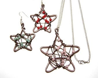 Adornment necklace and earrings stars - Christmas - aluminium and beads - handmade jewelry