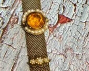 Vintage Mesh Bracelet with Faux Stones