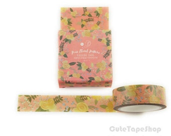 masking tape - Washi paper, watercolor Illustration - Pink floral pattern (Dimensions: 15 x 700 mm)