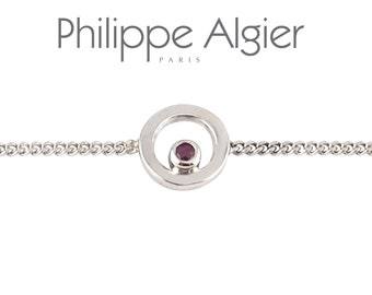 White Gold Bracelet 18 k, 1 Ruby 0.04ct.