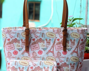 Zipper tote bag, canvas tote bag
