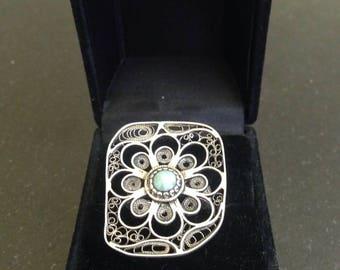 Handmade filigree ring / Amasonite