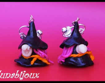 polymer clay halloween earrings witch