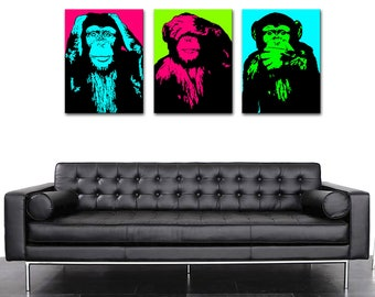 Triptych monkeys POP ART 2 color 3 (40 x 55)