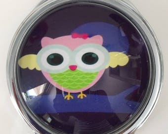"""PATTERN POCKET MIRROR """"OWL"""" DOUBLE SIDED WITH BACK FILIGREE"""