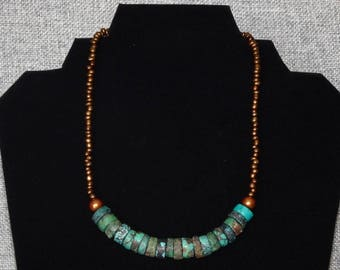 Beautiful Custom Handmade necklace.  Amazing gift for that special someone, copper and turquoise