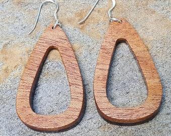 Handmade Natural Wood Earrings - Wenge + Mahogany