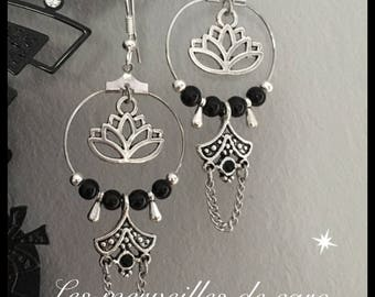 Lotus hoop earrings