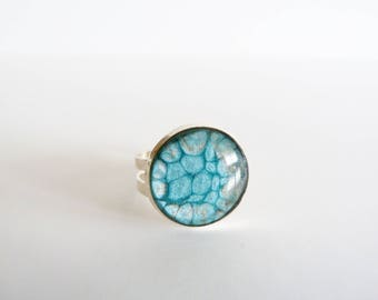 Ring bubble turquoise and gray paint and resin