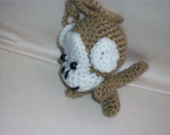 Adorable little monkey handmade crochet light brown and white acrylic