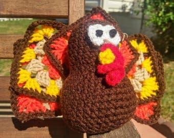 Crochet Turkey Centerpiece - Crochet Thanksgiving Decor - Crochet Turkey Plush - Seasonal Decor - Granny Square