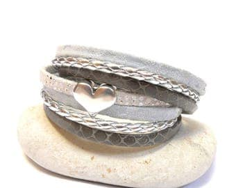 Grey leather bracelet two rounds silver heart