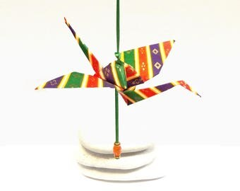 Hanging decoration, origami crane with Pearl colored, handmade